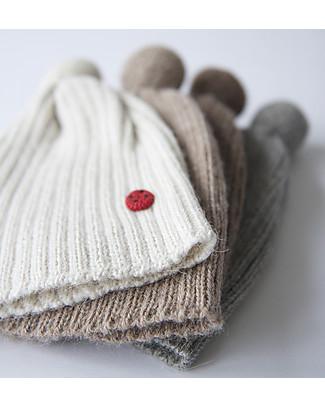 Esencia Cappellino PonPon con Coccinella, Avorio (1-2 e 3-4 anni) – 100% lana di alpaca Cappelli