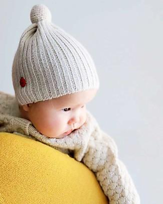 Esencia Cappellino PonPon con Coccinella, Avorio (6 mesi,1-2 e 3-4 anni) – 100% lana di alpaca Cappelli