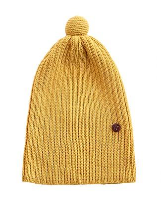 Esencia Cappellino PonPon con Coccinella, Giallo (1-2 e 3-4 anni) – 100% Lana di alpaca Cappelli