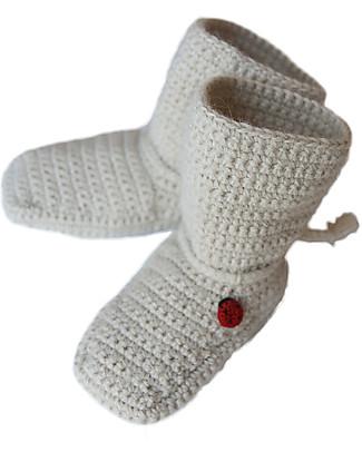 Esencia Mumin, Pantofoline a Stivaletto con Coccinella, Avorio – 100% lana di alpaca Scarpe
