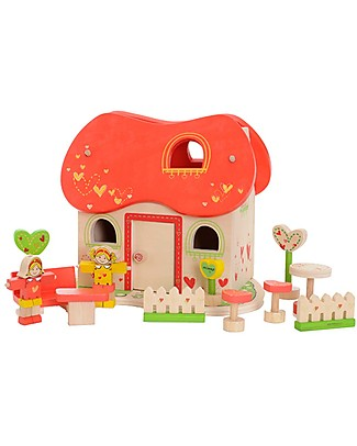 EverEarth Casa delle Bambole nel Giardino Incantato - Legno Certificato FSC! Giochi Per Inventare Storie