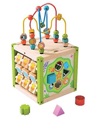 EverEarth Il mio Primo Cubo di Attività - Coordinazione Occhio-Mano - Legno Certificato FSC! Giochi Per Inventare Storie
