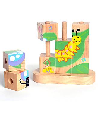 EverEarth Puzzle Blocchi 3D - Farfalla - Legno FSC Altissima Qualità! Incastri In Legno