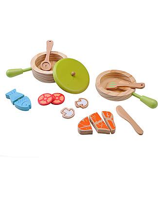 EverEarth Set da Cucina Giocattolo - Favorisce l'Interazione con gli Altri - Legno Ecologico Giochi Per Inventare Storie