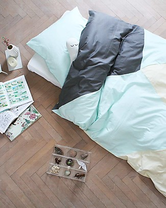 Fabelab Sleepy Jade Set Copripiumino e Federa - Letto Singolo - 100% Cotone Biologico Copertine Swaddles