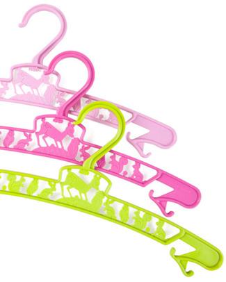 Fabulous Goose Pacco da 3 Grucce Junior - Rosa e Verde - Eco Plastica Appendiabiti e Grucce