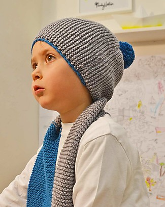 Family Nation + BettaKnit Kit Maglia Fai da Te Sciarpa e Cappello Old School Blu – 100% Lana Merino Sciarpe e Mantelle