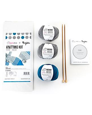 Family Nation + BettaKnit Kit Maglia Fai da Te Sciarpa e Cappello Pixie Blu – 100% Lana Merino Sciarpe e Mantelle