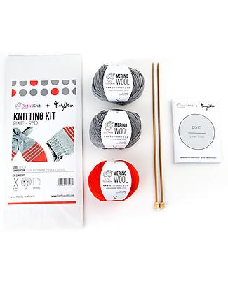 Family Nation + BettaKnit Kit Maglia Fai da Te Sciarpa e Cappello Pixie Rosso – 100% Lana Merino Sciarpe e Mantelle