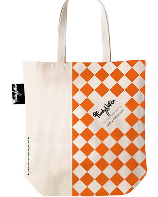 Family Nation Shopper Etico Terracotta - 100% Cotone - Edizione Limitata! Borse Shopper