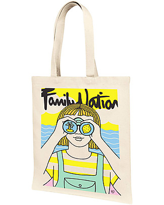 Family Nation Shopper Looking for Summer - 100% Cotone (limited edition) Borse Shopper