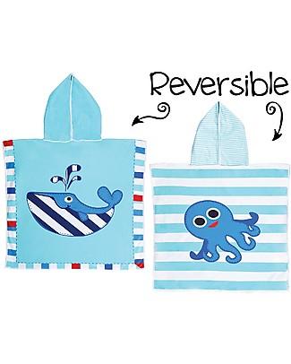FlapJackKids Accappatoio Poncho Reversibile, Balena+Polpo Blu - 61 x 61 cm Accappatoi e Asciugamani