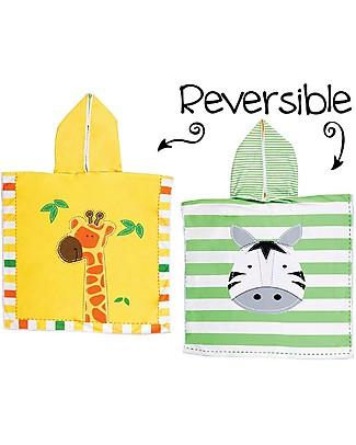 FlapJackKids Accappatoio Poncho Reversibile, Giraffa+Zebra - 61 x 61 cm Accappatoi e Asciugamani