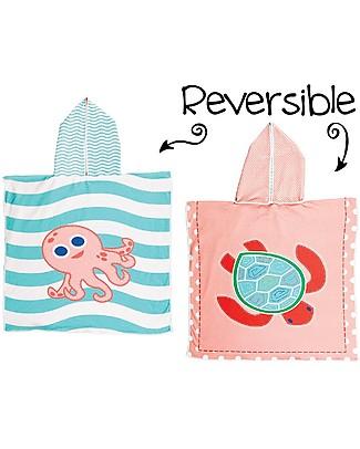 FlapJackKids Accappatoio Poncho Reversibile, Tartaruga+Polpo Rosa - 61 x 61 cm Accappatoi e Asciugamani