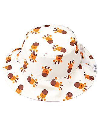 FlapJackKids Baby Cappello Estivo Reversibile Anti-UV SPF 50+, Pattern Giraffa+Zebra - 100% cotone Cappelli Estivi
