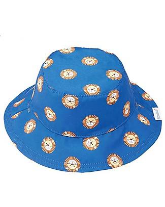 FlapJackKids Baby Cappello Estivo Reversibile Anti-UV SPF 50+, Pattern Leone/Scimmia - 100% cotone Cappelli Estivi
