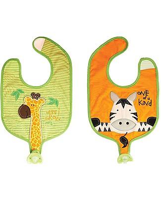 FlapJackKids Bavaglino Reggiciuccio Reversibile, Giraffa/Zebra - 100% Cotone Bavagli Classici