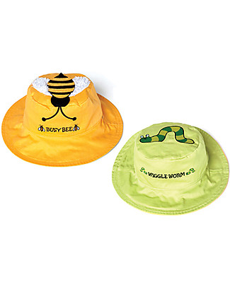 FlapJackKids Cappello Estivo Reversibile Anti-UV SPF 50+, Ape+Bruco - 100% cotone Cappelli Estivi