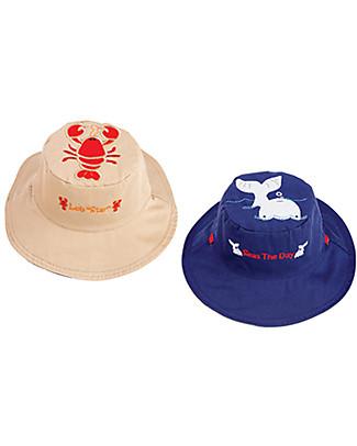 FlapJackKids Cappello Estivo Reversibile Anti-UV SPF 50+, Aragosta+Balena - 100% cotone Cappelli Estivi