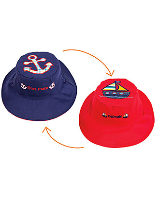 FlapJackKids Cappello Estivo Reversibile Anti-UV SPF 50+, Barchetta+Ancora - 100% cotone Cappelli Estivi