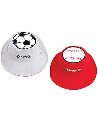 FlapJackKids Cappello Estivo Reversibile Anti-UV SPF 50+, Calcio+Baseball - 100% cotone Cappelli Estivi