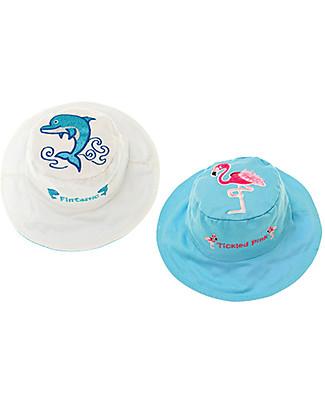 FlapJackKids Cappello Estivo Reversibile Anti-UV SPF 50+, Delfino/Fenicottero – 100% cotone Cappelli Estivi