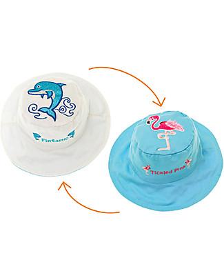 FlapJackKids Cappello Estivo Reversibile Anti-UV SPF 50+, Delfino+Fenicottero - 100% cotone Cappelli Estivi