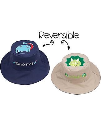 FlapJackKids Cappello Estivo Reversibile Anti-UV SPF 50+, Dinosauri - 100% cotone Cappelli Estivi