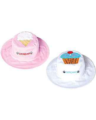 FlapJackKids Cappello Estivo Reversibile Anti-UV SPF 50+, Gelato/Cupcake – 100% cotone Cappelli Estivi