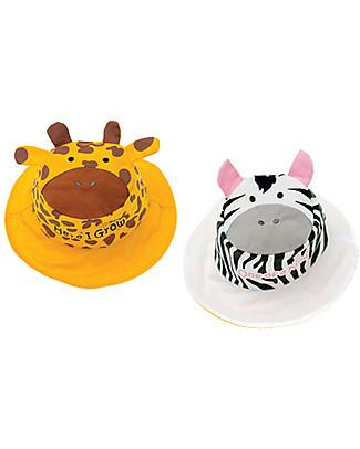 FlapJackKids Cappello Estivo Reversibile Anti-UV SPF 50+, Giraffa/Zebra – 100% cotone Cappelli Estivi
