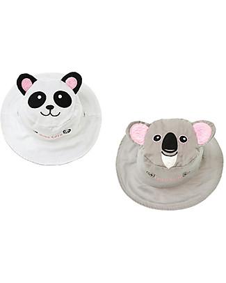 FlapJackKids Cappello Estivo Reversibile Anti-UV SPF 50+, Panda+Koala - 100% cotone Cappelli Estivi