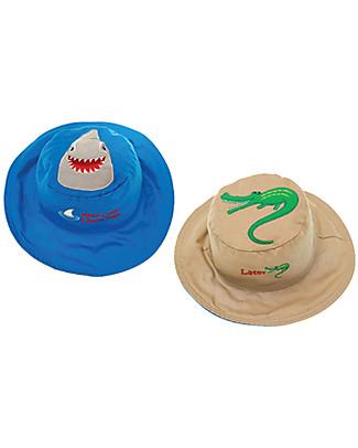 FlapJackKids Cappello Estivo Reversibile Anti-UV SPF 50+, Squalo/Coccodrillo – 100% cotone Cappelli Estivi