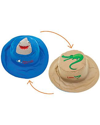 FlapJackKids Cappello Estivo Reversibile Anti-UV SPF 50+, Squalo+Coccodrillo - 100% cotone Cappelli Estivi