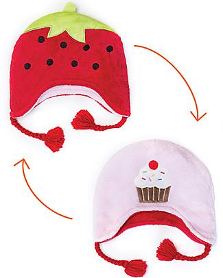 FlapJackKids Cappello Invernale Bimba Reversibile Pile SPF 50 - Fragola/Cupcake Cappelli Invernali
