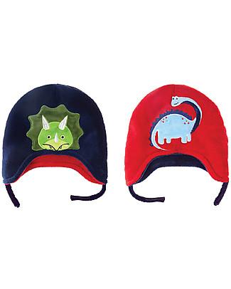 FlapJackKids Cappello Invernale Bimbo Reversibile Pile SPF 50 - Dino Cappelli Invernali