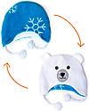 FlapJackKids Cappello Invernale Bimbo Reversibile Pile SPF 50 - Fiocco di Neve/Orso Polare Cappelli Invernali