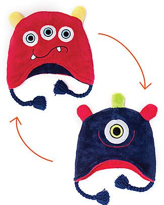 FlapJackKids Cappello Invernale Bimbo Reversibile Pile SPF 50 - Mostri Blu/Rosso Cappelli Invernali