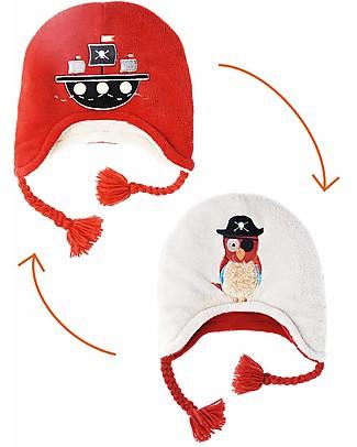 FlapJackKids Cappello Invernale Bimbo Reversibile Pile SPF 50 - Pirata/Pappagallo Cappelli Invernali