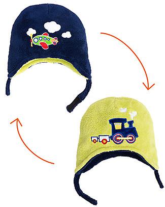 FlapJackKids Cappello Invernale Bimbo Reversibile Pile SPF 50 - Treno/Aereoplano Cappelli Invernali