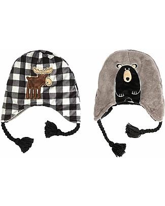 FlapJackKids Cappello Invernale Reversibile Anti-UV SPF 50+, Alce+Orso - 100% pile  Cappelli Invernali