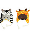 FlapJackKids Cappello Invernale Reversibile Anti-UV SPF 50+, Giraffa+Zebra - 100% pile  Cappelli Invernali