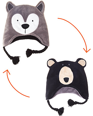 FlapJackKids Cappello Invernale Reversibile Anti-UV SPF 50+, Lupo+Orso - 100% pile  Cappelli Invernali