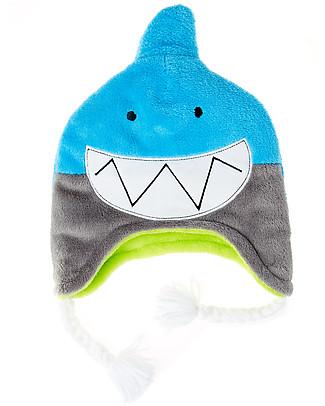 FlapJackKids Cappello Invernale Reversibile Anti-UV SPF 50+, Squalo+Coccodrillo - 100% pile Cappelli Invernali