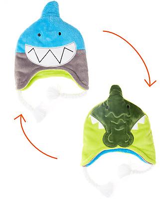 FlapJackKids Cappello Invernale Reversibile Anti-UV SPF 50+, Squalo+Coccodrillo - 100% pile null