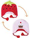 FlapJackKids Cappello Invernale Reversibile in Pile - Fragola+Cupcake - Anti-UV SPF 50+ Cappelli Invernali