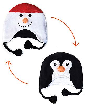 FlapJackKids Cappello Invernale Reversibile Pile SPF 50 - Pupazzo di neve/Pinguino Cappelli Invernali
