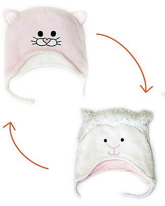 FlapJackKids Cappello Reversibile in Pile - Agnello+Gattino - Anti-UV SPF 50+ Cappelli Invernali