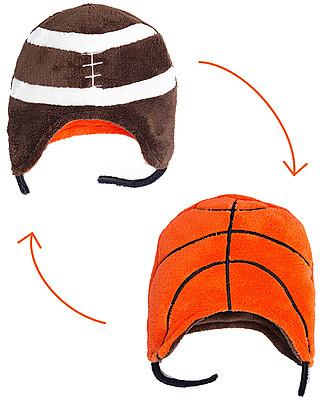 FlapJackKids Cappello Reversibile in Pile - Calcio+Baseball - Anti-UV SPF 50+ Cappelli Invernali