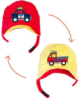 FlapJackKids Cappello Reversibile in Pile - Pompieri+Polizia - Anti-UV SPF 50+ Cappelli Invernali