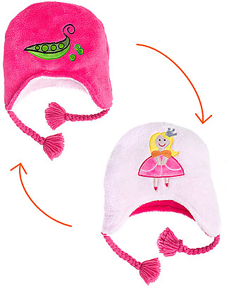 FlapJackKids Cappello Reversibile in Pile - Principessa+Pisellini - Anti-UV SPF 50+ Cappelli Invernali